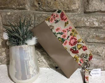 Faux leather clutch with flowers