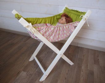 Doll bed, wood and fabric