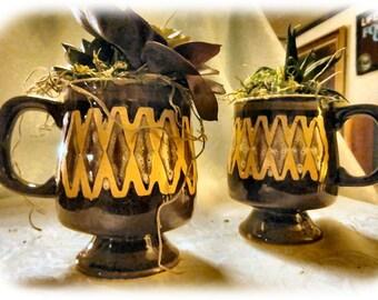 Hand-painted Ceramic Mug Planters - Pair