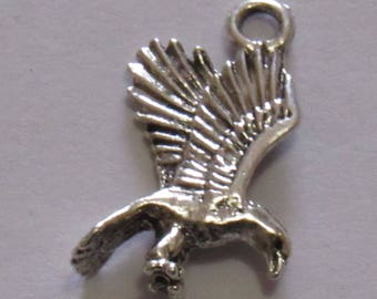 """Silver Plated Eagle Charm, 1"""" in length and 1/2"""" in width. DIY Crafts. Jewelry Supplies."""