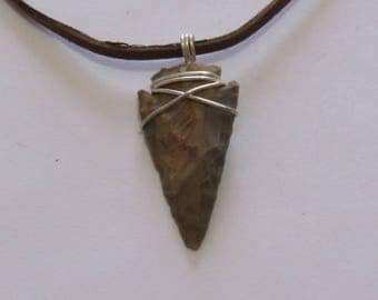 "Wire Wrapped Arrow Head on a Leather Cord, 1 3/4"" in length & 7/8"" in width. Jewelry. Pendant"