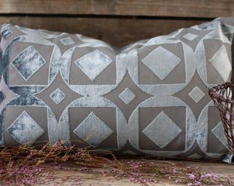 "Handmade pillow 20"" x 12"". Silver grey velvet pillow. French fabric. French linen. Vintage fabric. Vintage linen. French velvet cushion"