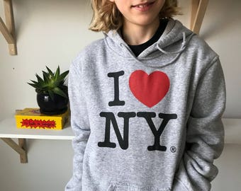 Sam - Cotton Hoodie grey I Love NY - boy