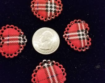 Cute Padded Applique Plaid Heart 10 Pieces for sewing/doll making/hairbow/scrapbooking/crafts, etc.