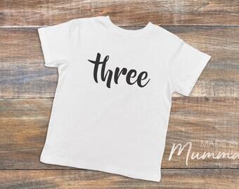 Third Birthday, Three, Custom Children's T-Shirt