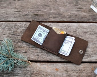 Money Clip, Leather Wallet, Engraving Your Initials, Wallet