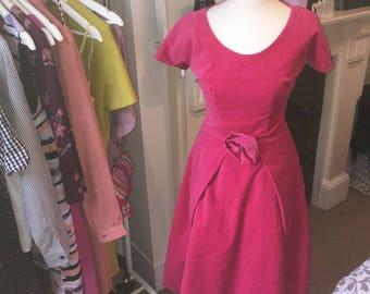 Pink Velvet 1950s Prom Dress