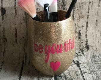 Customized Makeup Glass - Personalize With Names + Colors + Symbols - Available In Gold, Blue, Red Or Silver Glitter