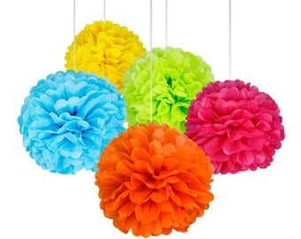 15 Pcs: 14, 12, 10 Inches Assorted Rainbow Colors Tissue Paper Pom Pom Flower Balls For Birthday Party Baby Shower Decorations by Kaleiddo