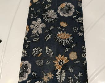 LARGE Reusable Cotton Beeswax Food Wrap Dark Blue Navy Floral Succulent Leaf Gold White Grey Teal 30cm x 30cm Plastic Free Eco friendly