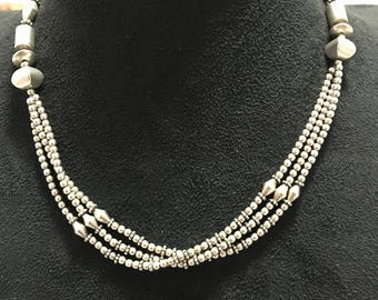 Three line  925 silver necklace