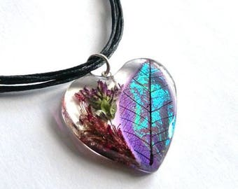 Resin Heart Necklace with Purple Resin Leaf Skeleton