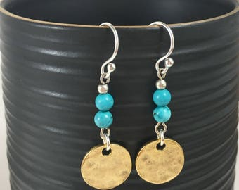 Turquoise and Hammered Gold Earrings