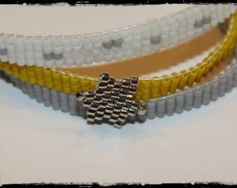 Bracelet three rows Miyuki beads woven by hand