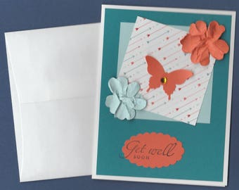 Handmade 3D Get Well Card Thinking of You Butterfly, Flowers