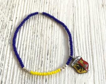 Vintage souvenir pendant miyuki beads bracelet-Genève