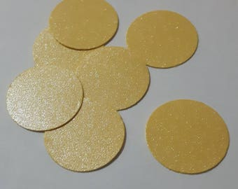 100 pieces Yellow Pearlescent Glitter 1.91 cm circular