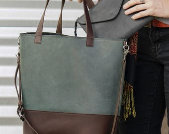 Two Toned Leather Handmade tote
