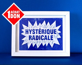 Radical hysterical - A4 poster linocut