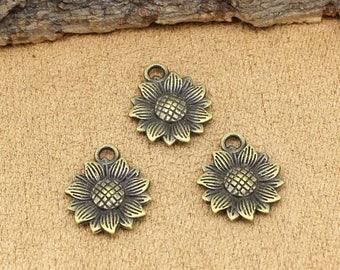 25pcs Antique Bronze Sunflower Charms Pendant 18x15mm C2004-T