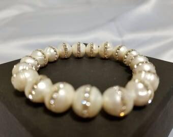 Elegant White Pearl Bracelet with Rhinestones - FREE gift box and card