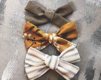 3 Pack Spring Linen Dandelion Bows Classic Hand Tied Bow Bows Nylon or Clip