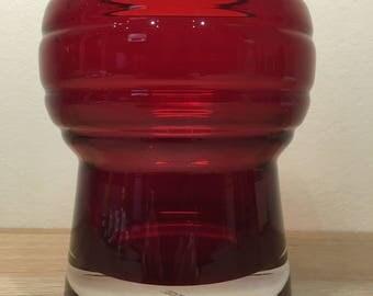 Prachtige vintage vaas van Schott Zwiesel rood glas