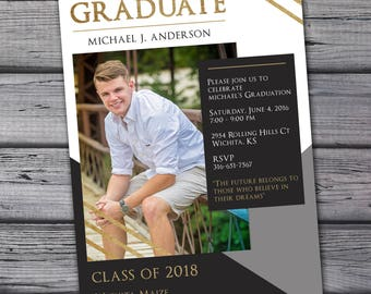 Graduation Announcement, Photo Graduation Announcement, Graduation Invitation, Graduation Postcard, Graduation Party Invitation