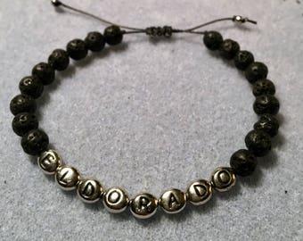 Adjustable and customizable 6 mm lava stone bracelet