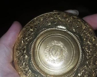 1920s vintage mirror powder and rouge compact