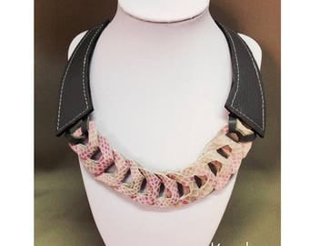 Leather effect necklace chain