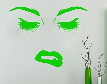 Wall Decal Window Sticker Beauty Salon Woman Face Eyelashes Lashes Eyebrows Brows t56