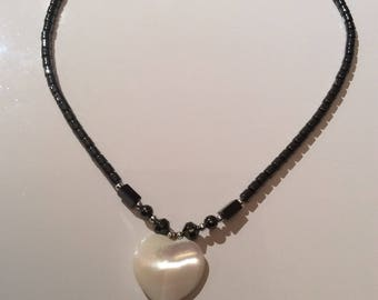 Moon Stone Heart Necklace