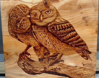 Owls in love, pyrography on wood, animals in love picture, wood picture, pyrography art, owls on wood, owls wood decor, owls wood drawing