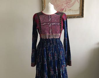 Rare embroidered 70's wasited afghan dress