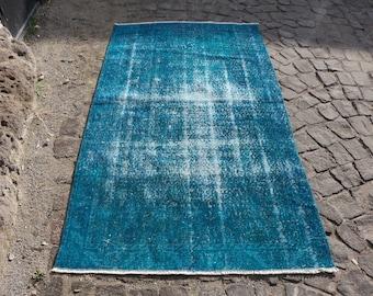 Oushak Rug Overdyed Rug Free Shipping Turkish Rug 3.6 x 6.4 ft. Anatolian Rug Aztec Rug Decorative Floor Rug Anatolian Rug Blue Rug MB131