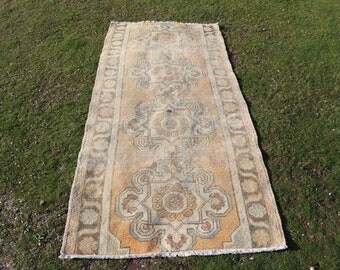 Turkish runner area rug, 3.1 x 7.1 ft. Free Shipping hall rug, anatolian area rug, orange color rug, rustic rug, nomadic runner rug MB564