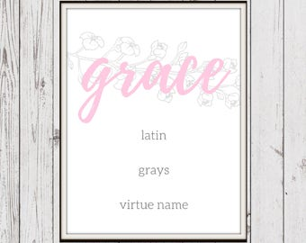 Grace, Baby Girl Name, Pink, Instant Download, Digital Art Download, Nursery Decor