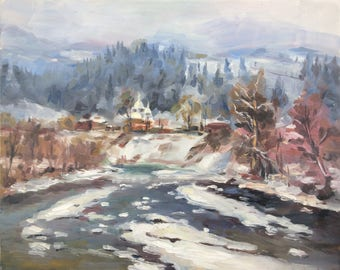 Mountain river оil painting