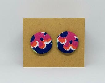 Floral Round Fabric Earrings