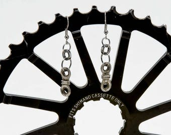 Single Link Up-cycle Bicycle Bike Chain Earrings - Wrapped!