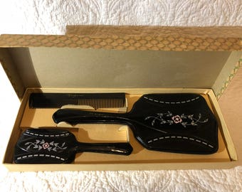 Vintage 1960's vanity set, dressing table set, hairbrush comb and mirror