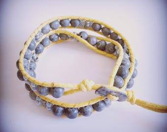 Yellow and grey bracelet