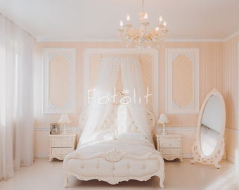 Wedding background, digital backdrop, bedroom backdrop, pastel background, creamy dreamy backdrop, interior background, light room, mirror