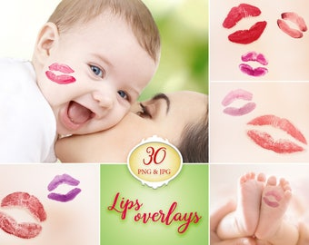 30 Lips overlays, kiss overlay, photoshop overlay, lipstick, kissing lips, photography prop, digital download, transparent PNG, newborn