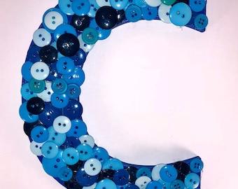"Blue 8"" Letter ""C"" Variation of Blue Button Art, Wall Hanging, Home Decor, Monogram Button Art, Nursery Art"
