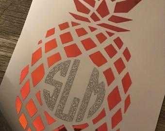 Pineapple Monogrammed Decal