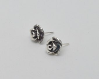 Sterling Silver rose shaped earrings