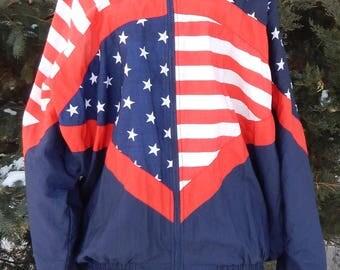 Vintage 1980's 90's Otomix American Stars and Stripes Bodybuilder Warm Up Jacket