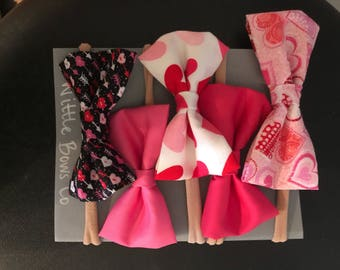 Five fabric bow set / accessories girls for valentine / hair accessories for babies / Baby Girl Headband / Baby Headband / Baby Bows